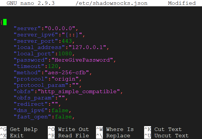 Shadowsocks.json file after installation