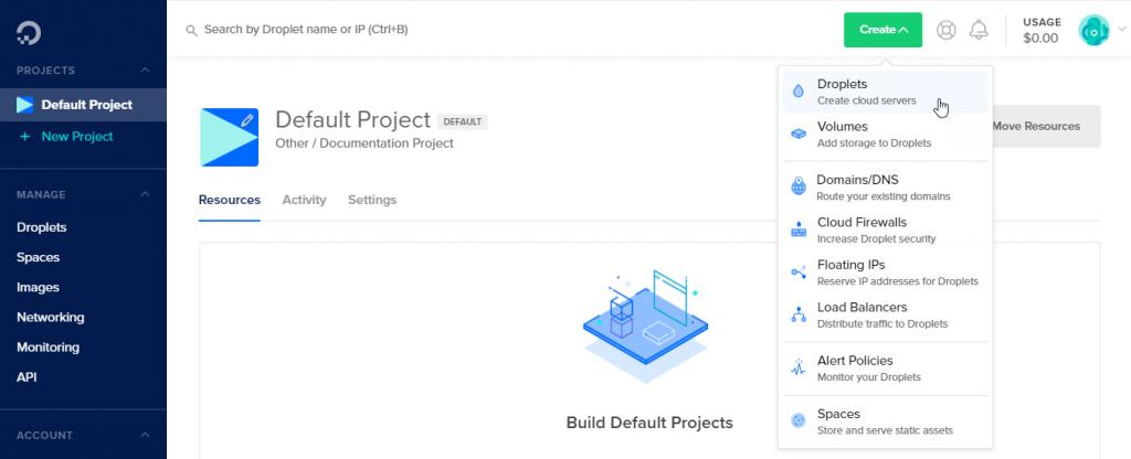 Server creation menu